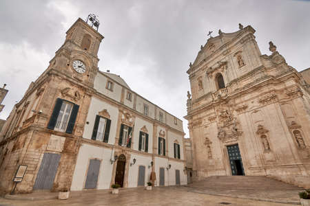 Martina Franca, Apulia. Basilica of San Martino in Piazza Plebiscito, province of Taranto, On A Cloudy Rainy Day, Apulia in southern Italy