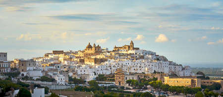 Panoramic View Of The White City Ostuni during the Autumn Season, Province of Brindisi, Apulia, Italy