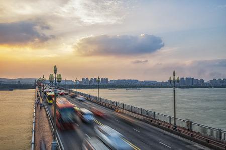 yangtze: The Nanjing Yangtze River Bridge Stock Photo