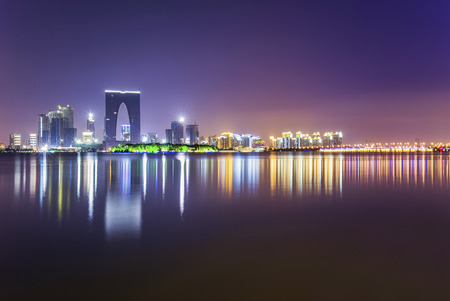 Suzhou Jinji Lake at night 版權商用圖片
