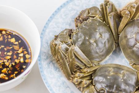 hairy legs: Chinese mitten crabs Stock Photo