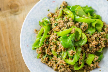 no food: Minced meat peppers Stock Photo