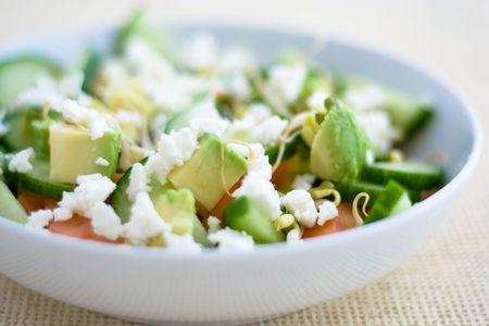 feta: Salad with avocado and feta Stock Photo