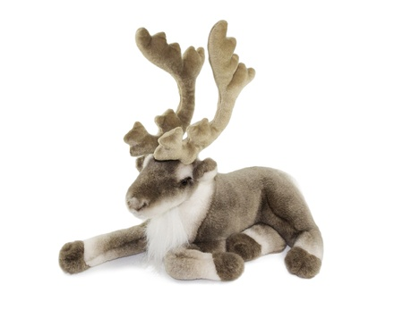 santa moose: deer toy selected on white background