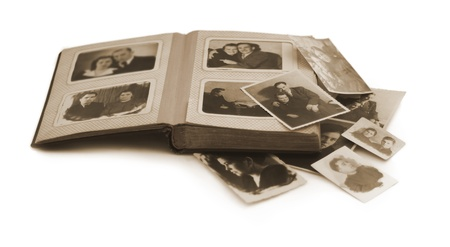 photo album: old family photo album with old photos