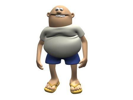 bald men: Cartoon Character Man With Belly 2