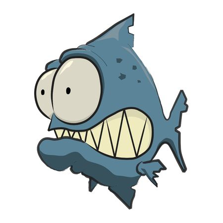 pirana: Blue Piranha Cartoon Stock Photo