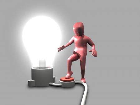 Man Light Bulb Switch photo