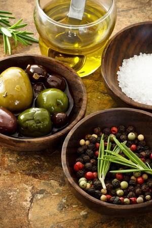 Olive oil, peppercorn, sea salt photo