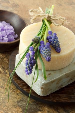 handmade soap: Handmade soap and bath salt Stock Photo