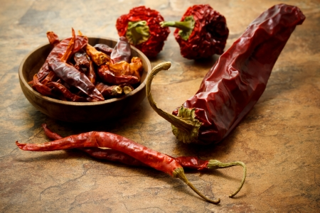 dried spice: Assortment of chili peppers