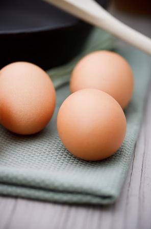 cast iron pan: Fresh eggs with black cast iron pan