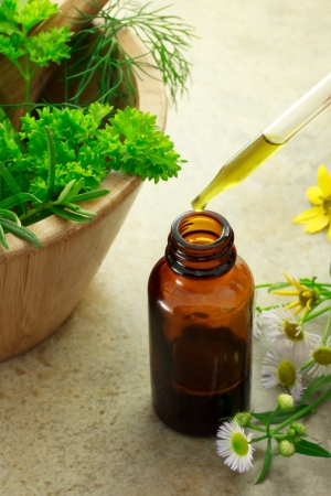 apothecary: Herbal medicine with dropper bottle Stock Photo