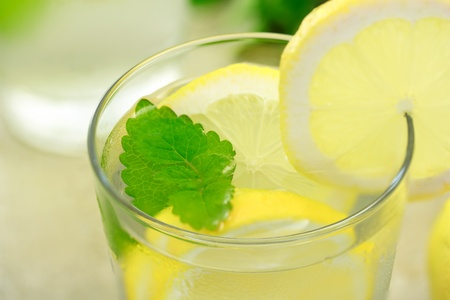 Glass of lemonade with lemon and mint Фото со стока - 10010412