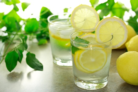 lemon balm: Lemon water with fresh lemons and green plants