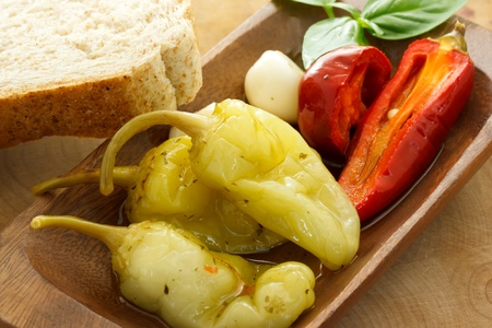 Pickled peppers with bread Banco de Imagens