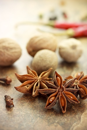 seasonings: Collection of spices - star anise, nutmegs, cloves, chili peppers and corn peppers