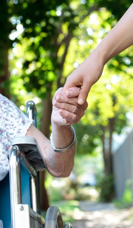 elder tree: Holding hands with senior lady in wheelchair Stock Photo