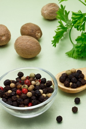 peppercorn: Colorful peppercorn with nutmegs Stock Photo