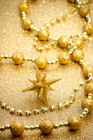 Christmas star with glittering golden ornament
