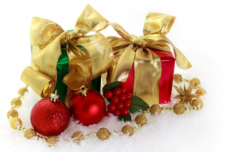 Red and green Christmas gifts Stock Photo - 11028578