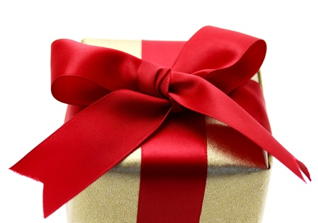 Gift box with red ribbon on white background Stock Photo - 11028616