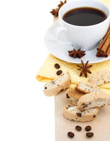 Coffee break - cup of coffee with biscuits with spices photo