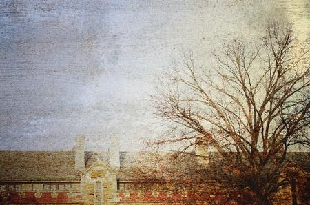 グランジとレトロなスタイルの木と古い建物 写真素材