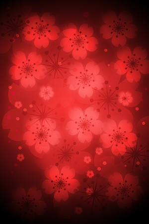 Red colored cherry blossoms background photo