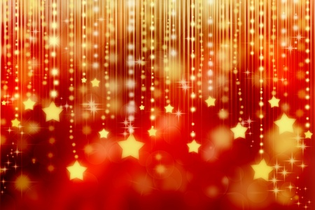 shiny background: Stars on red shiny abstract lights background  Stock Photo