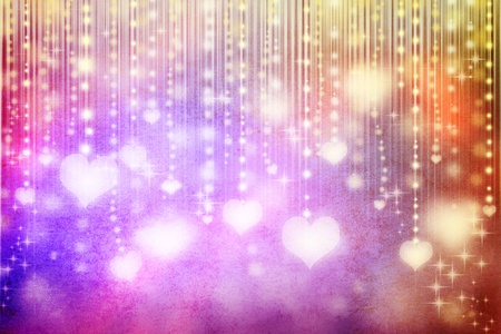 illuminated hearts on colorful grunge background Stock Photo