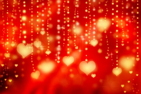 Golden shiny hearts on red background photo