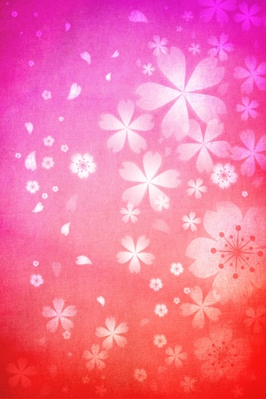 fabric textures: Pink and orange colored cherry blossoms background
