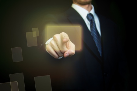 Man confidently selecting a touch screen button