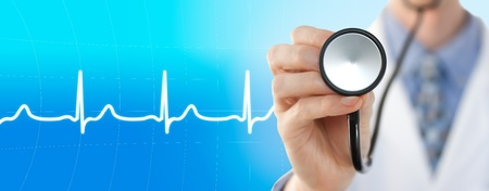 electrocardiogram: Doctor with stethoscope on the electrocardiogram graph background