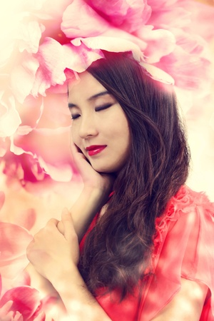 korean woman: Beautiful Girl in Elegant Flowers