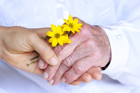 elderly care: Seninor Lady and Young Woman Holding Hands - Giving Flowers  Friendship, Care, Service