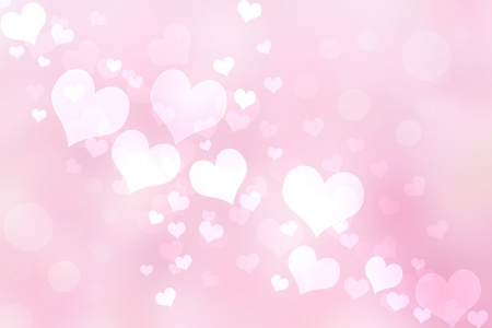 Abstract Heart Lights Background - Pink and White