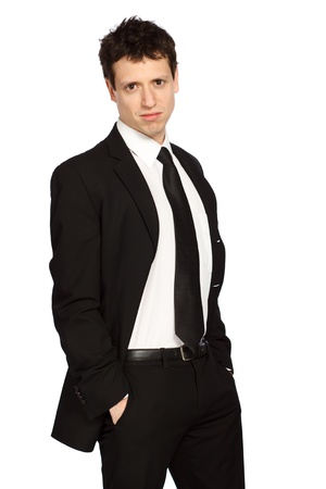 backround: Portrait of a Young Stylish Business Man Stock Photo