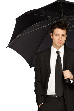 Portrait of a Young Stylish Business Man with Umbrella photo