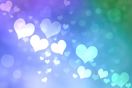 Abstract Heart Lights Background -Purple, Pink, Green photo