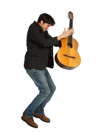 Isolated Guitar Player Jumping Stock Photo - 13667106