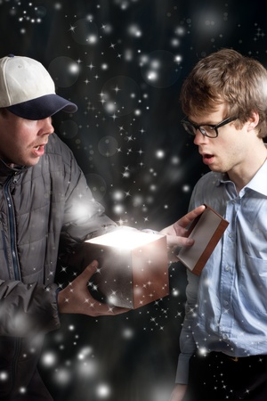 Two Man Opening a Magic Gift Box photo