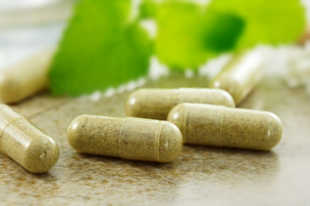 capsules: Close up image of herbal medicine Stock Photo