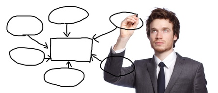 young businessman drawing a flowchart isolated on white