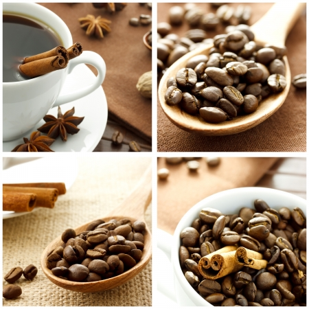 Coffee Collage with Cinnamon Sticks photo
