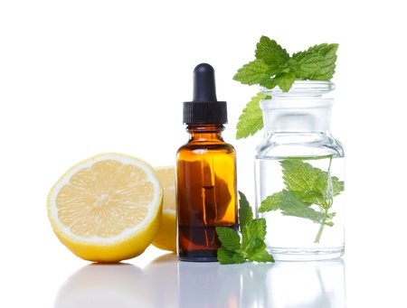 naturopathy: Herbal medicine dropper bottle with lemon and mint