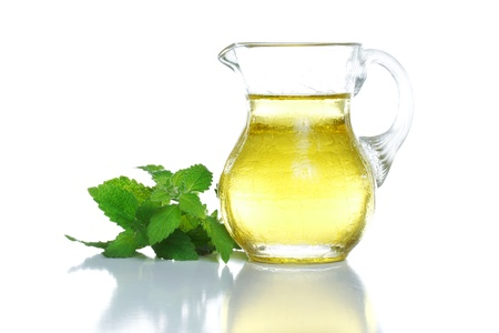 plant oil: Cooking Oil  Olive, Sunflower, Canola, Veg  with Fresh Herbs Stock Photo