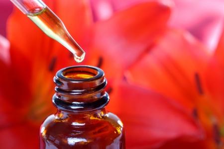 homeopatia: Fitoterapia Tintura con flores lirios rojos Foto de archivo