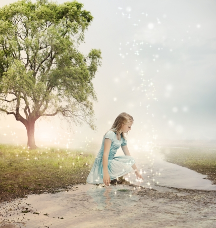 fairy woman: Young Blonde Girl at a Magical Brook